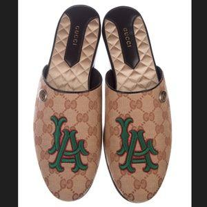 GUCCI LA Flamel Mules MLB Collab LA Dodgers
